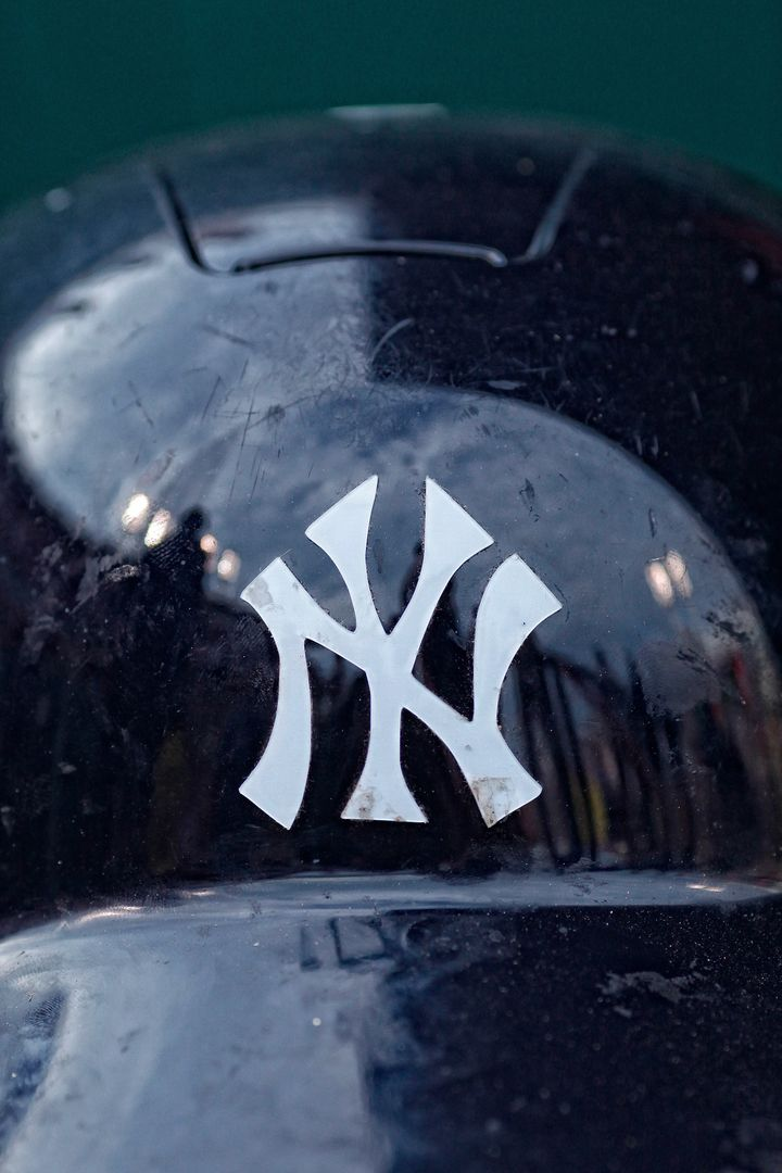 CINCINNATI, OH - JUNE 22: Detail view of the New York Yankees logo on the front of a batting helmet before the game against t