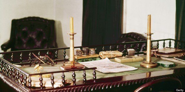 Leo tolstoy's antique writing desk at yasnaya polyana, the tolstoy family estate, the desk was inherited from his father. (Ph