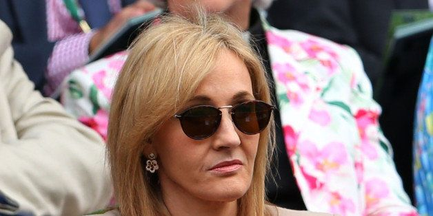 LONDON, ENGLAND - JUNE 25:  J.K. Rowling watches the Ladies' Singles first round match between Serena Williams of the United