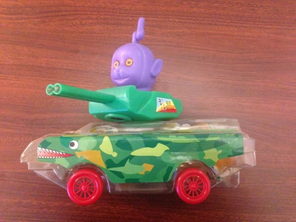 This one never made it to the U.S., but it sold in China, where I purchased it. It was a plastic tank with the head of Tinky