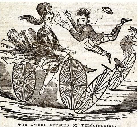 """Velocipede"" by Kate Beaton pokes fun at a time when women on bicycles were seen as a public nuisance."