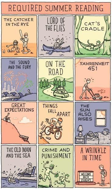 """Required Summer Reading,"" by Grant Snider is a humorous depiction of classic novels that are often part of summer reading cu"