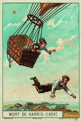 "This haunting image, ""The Death of Harris,"" is from a popular French balloon collecting-card series, issued by Romanet & Cie,"