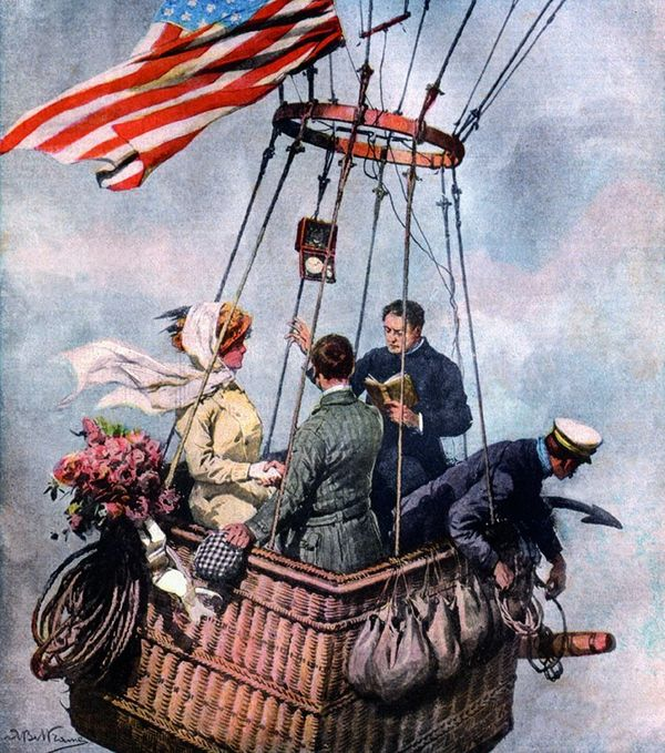 """A Balloon Wedding in the clouds."" An ultra- fashionable American wedding somewhere above New York, drawn for an Italian maga"