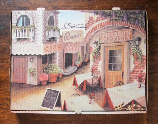 Picasso's Pizzeria in Buffalo, NY commissioned local artist Michael Biondo to create this image of an inviting Italian villag