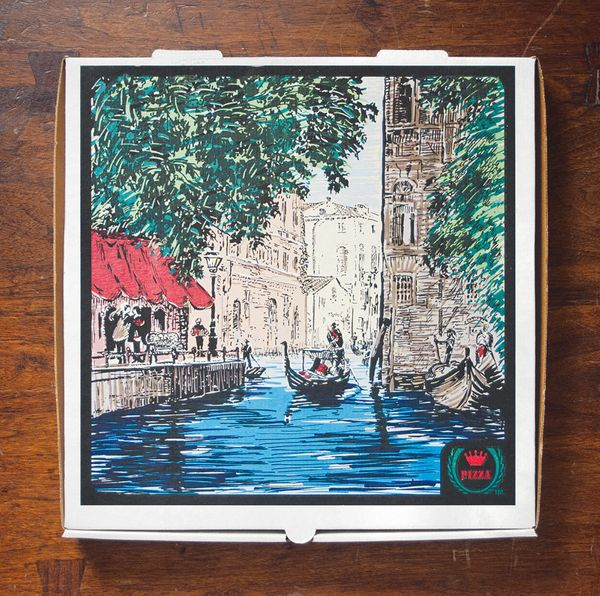 In the late 1990's, Roma Foods introduced a series of pizza boxes that featured typical scenes from different Italian cities.