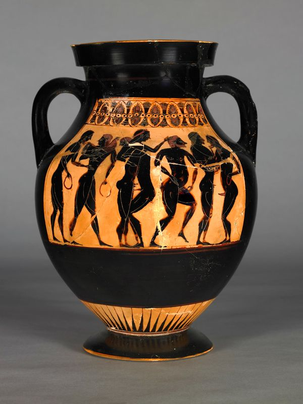 This Greek pot dates from the sixth century BCE and is decorated on both sides by a series of male figures, marked out as mat