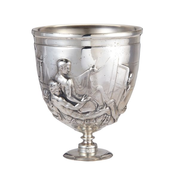 The Warren Cup is rare among Roman artefacts in showing male-male intercourse, and is graphic even by ancient Athenian standa