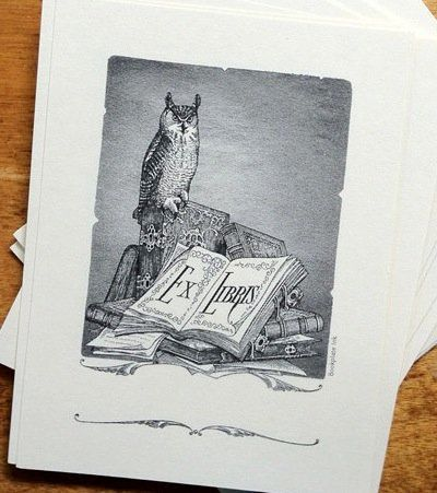 "Oh, to be as learned as this owl. <a href=""https://www.etsy.com/listing/113158967/perched-owl-bookplate?ref=shop_home_active_"