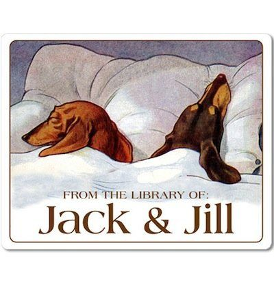 For those brave couples who wish to merge not only their futures, but their book collections, try a joint bookplate, preferab