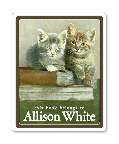 "And let's not leave cat lovers out. <a href=""https://www.etsy.com/listing/175656630/book-lover-kittens-ex-libris-bookplate?re"