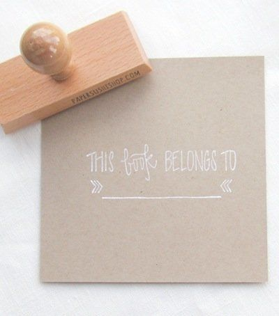 "Or keep it simple and sweet. <a href=""https://www.etsy.com/listing/130382139/bookplate-stamp-this-book-belongs-to-ex?ref=sr_g"