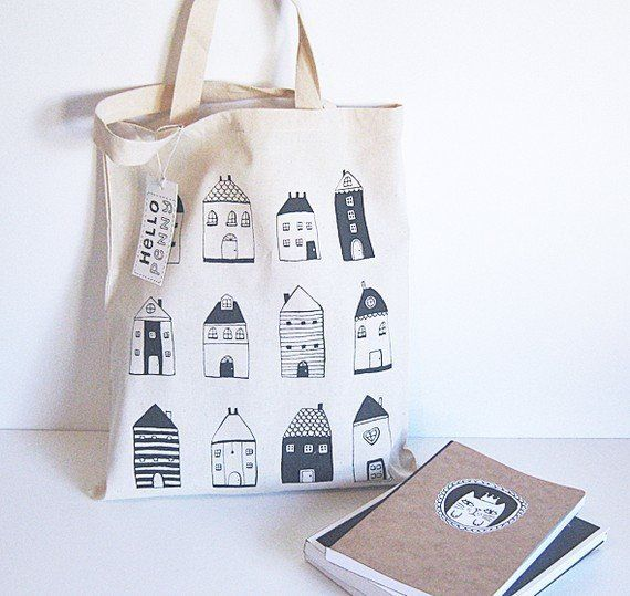 "Adorable!  From Etsy seller <a href=""https://www.etsy.com/listing/68050139/tote-bag-little-houses-cotton-tote?utm_source=Pint"