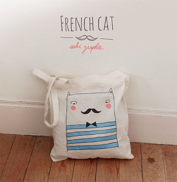 "Did we mention cats?  From Etsy seller <a href=""https://www.etsy.com/listing/128976124/tote-bag-french-cat?ref=shop_home_acti"