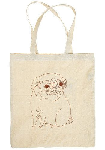 "A puppy, wearing glasses. Can you imagine a better bookish companion?  From <a href=""http://www.modcloth.com/shop/totes-backp"