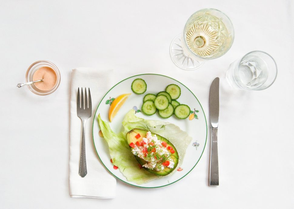 <em><strong>From the book:</strong></em> Then I tackled the avocado and crabmeat salad. Avocados are my favorite fruit. Every