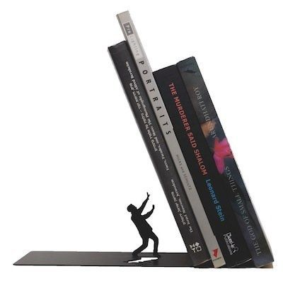 It really is the end for this little guy -- except that this sturdy bookend will ensure your books stay threateningly tilted