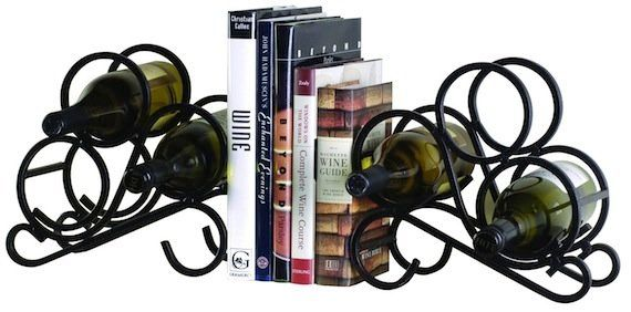 "Love wine? Love books? Solve two storage problems in one with a wine rack bookend set. (Via <a href=""http://www.amazon.com/Oe"