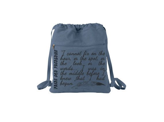 "For when a tote just won't cut it, try a literary backpack! (Via <a href=""https://www.etsy.com/listing/182429563/pride-and-p"
