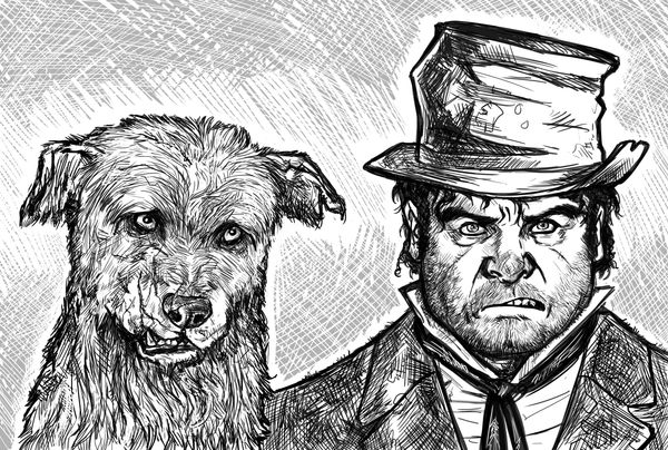 Bull's-eye is the dog belonging to Bill Sikes, the vicious thug in Charles Dickens's <em>Oliver Twist</em>, often assumed to