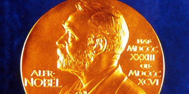 This is a  1994 photo showing both sides of the Nobel Prize Medal. (AP Photo)