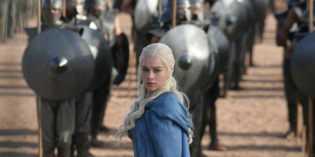 """This publicity image released by HBO shows Emilia Clarke in a scene from """"Game of Thrones."""" The program was nominated for an"""