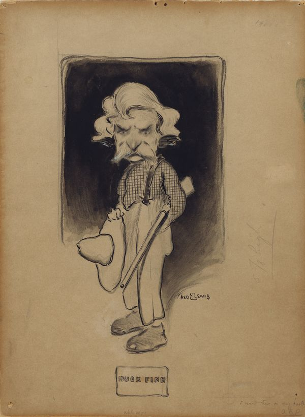 Blending Twain with his characters is a long-running theme among cartoonists. This caricature was created for the Mark Twain