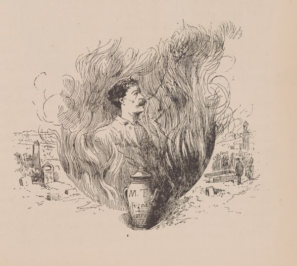 The offending illustration of Clemens in the flames above his urn in <em>Life on the Mississippi</em>  The first American edi