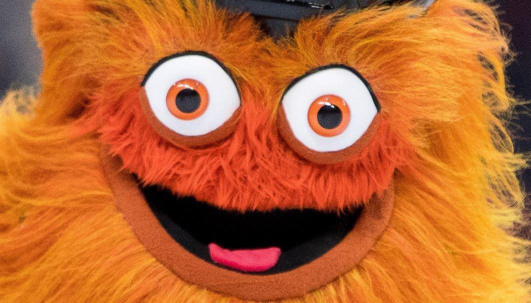 PHILADELPHIA, PA - SEPTEMBER 27: New Flyers mascot Gritty entertains fans during the Preseason game between the New York Rangers and Philadelphia Flyers on September 27, 2018 at Wells Fargo Center in Philadelphia, PA. (Photo by Kyle Ross/Icon Sportswire via Getty Images)