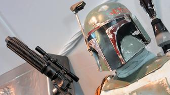 LOS ANGELES, CA - DECEMBER 13:  Hollywood Prepares For The Premiere Of Walt Disney Pictures And Lucasfilm's 'Star Wars: The Force Awakens' : Boba Fett on display on the 2nd Day of Target's Share The Force held at LA Live on December 13, 2015 in Los Angeles, California.  (Photo by Albert L. Ortega/Getty Images)