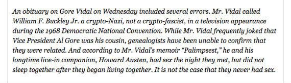 "When celebrated writer and personality Gore Vidal died in 2012, the eloquent New York Times obituary was marred by <a href=""h"