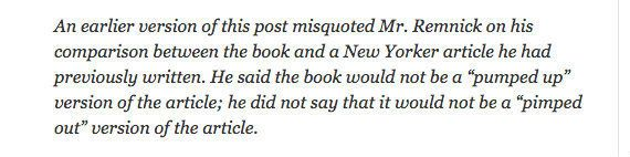 "This bizarre misquote seems rather like a case of wishful thinking on the part of <a href=""http://artsbeat.blogs.nytimes.com/"