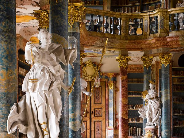The Rococo produced some of the most sumptuous library interiors in history. The library of Wiblingen Abbey (1744) in Souther