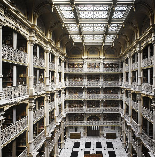 Gas lighting and iron created a new form of library in the nineteenth century: the iron stack hall. The Peabody Library (1878