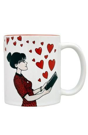 Books, coffee, and love: Life's basic essentials. If your darling feels the same way, he or she might need this mug from The