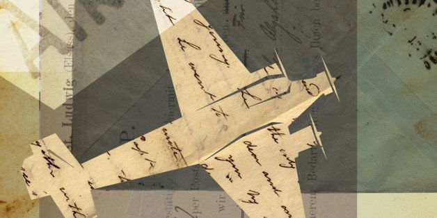 Collage with an airplane, air mail, vintage letters and stamps