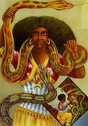 Mami Wata (or Mamy-Wata) is venerated throughout much of Africa and the African diaspora of the Atlantic. An embodiment of th
