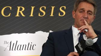 WASHINGTON, DC - OCTOBER 02:  U.S. Sen. Jeff Flake (R-AZ) participates in a discussion during the 2018 Atlantic Festival October 2, 2018 in Washington, DC. The Atlantic held its annual festival on 'the most consequential topics facing us today.'.  (Photo by Alex Wong/Getty Images)