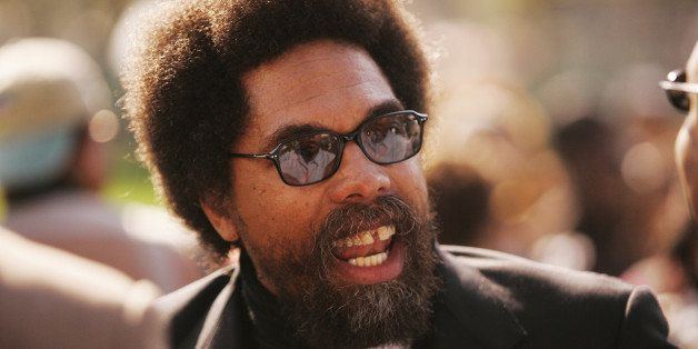 Scholar Cornel West speaks with members of the media, Saturday, Oct. 15, 2005, on the lawn of the U.S. Capitol in Washington.