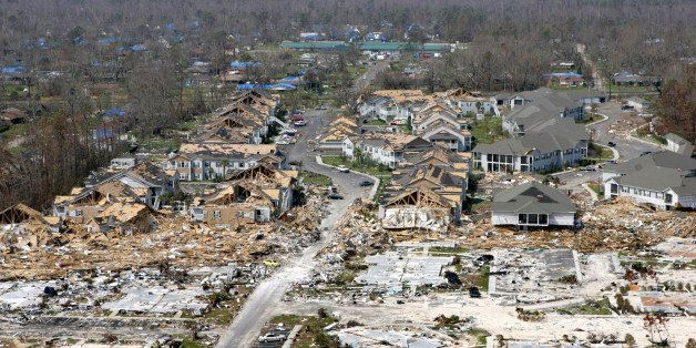 **FILE**  Empty foundations and destroyed homes litter the Gulf Coast in Gulfport Miss., in the wake of Hurricane Katrina Tue