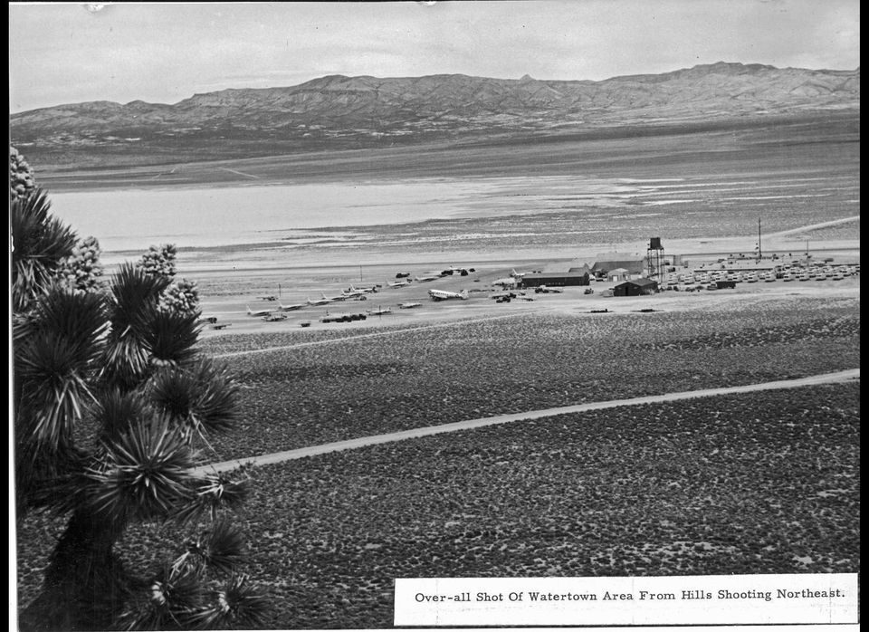 A rare perspective on Area 51 looking northeast in 1955. The triangular mountain peak ( just right of center in the far dista