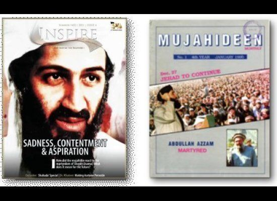 "The death of Osama bin Laden made for front page news in the latest issue of ""Inspire"" (left), but 20 years ago the big story"