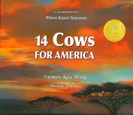 <strong><em>14 Cows for America </em></strong>(Peachtree, 2009) by Carmen Agra Deedy is a book based on fact that shows how p