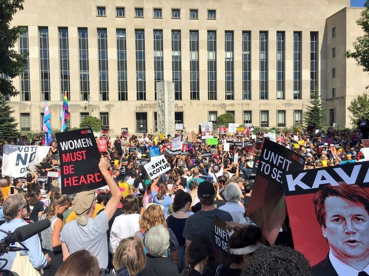 Demonstrators gather outside Supreme Court nominee Brett Kavanaugh's courthouse in Washington on Oct. 4 to protest his possib