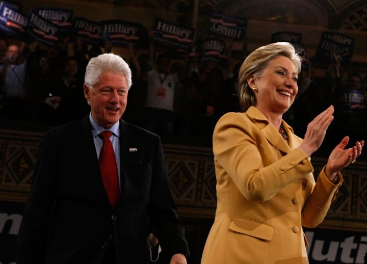 Bill and Hillary Clinton at a campaign rally in New York during her 2008 presidential bid.