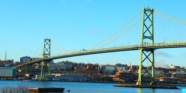 Macdonald Bridge in Dartmouth, Nova Scotia, Canada.