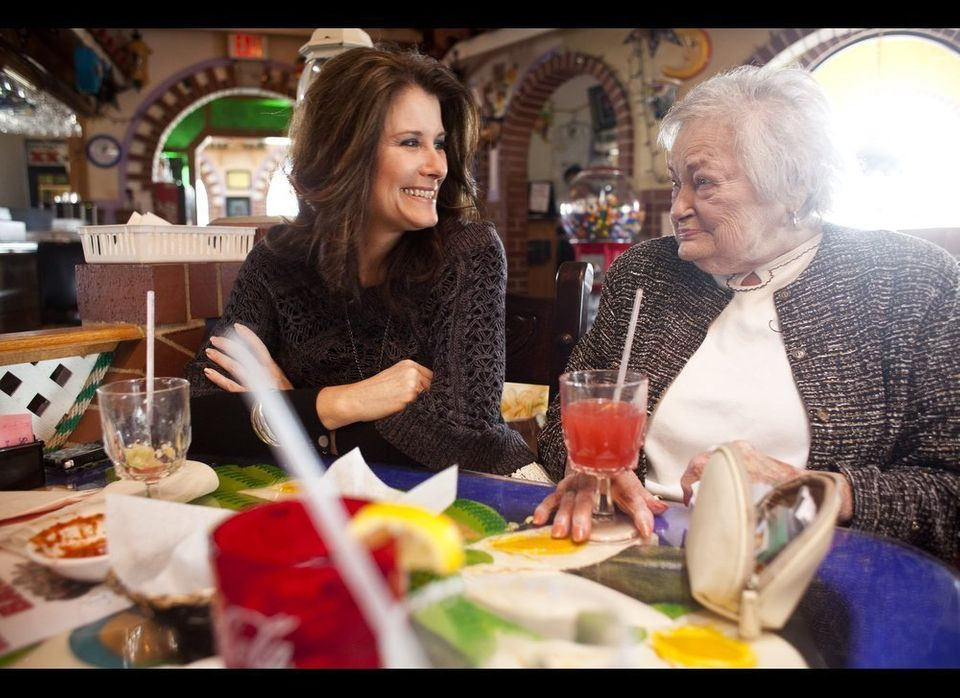 Kelley Hawkins (left) smiles with her grandmother AnnaBelle Bowers, 87, while at lunch in Harrisburg, Pa. Hawkins shares full
