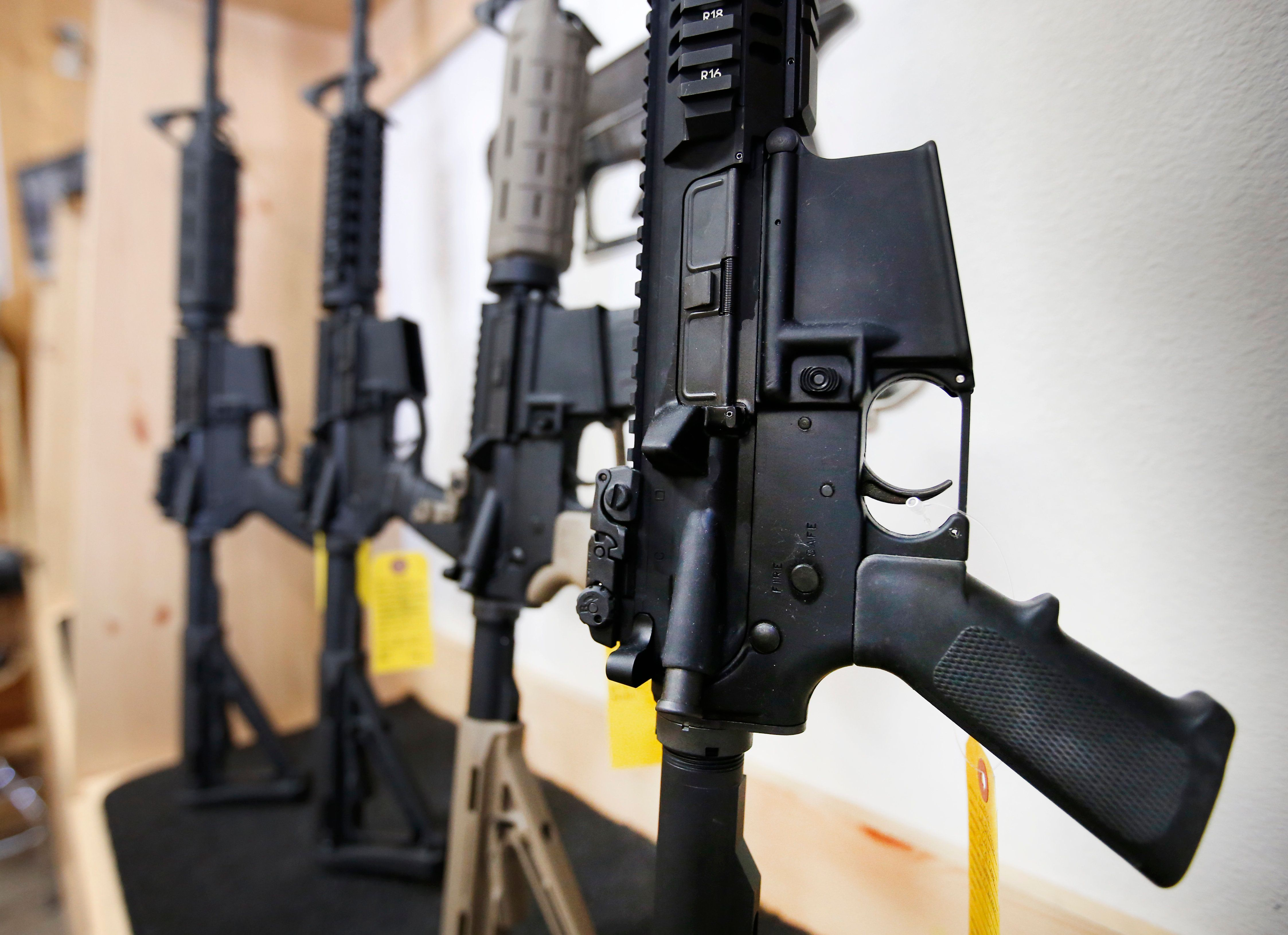 SPRINGVILLE, UT - JUNE 17:  AR-15 semi-automatic guns are on display for sale at Action Target on June 17, 2016 in Springville, Utah. Semi-automatics are in the news again after the nightclub shooting in Orlando F;lord last week. (Photo by George Frey/Getty Images)