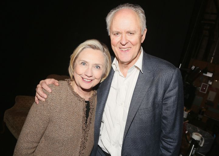 "Hillary Clinton and John Lithgow pose backstage at the production of ""John Lithgow: Stories By Heart"" in New York earlier thi"