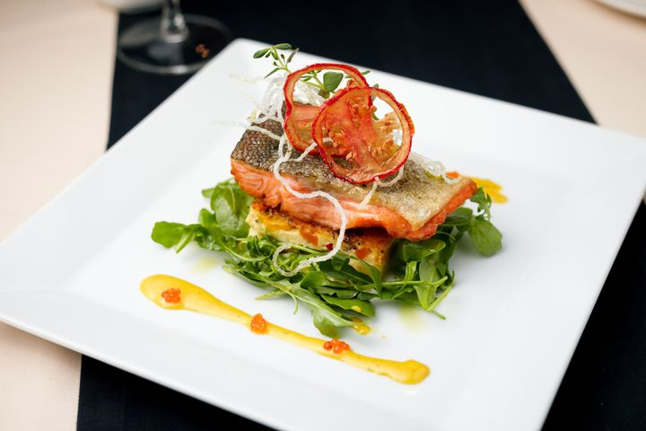 baked salmon in crab sauce with ...